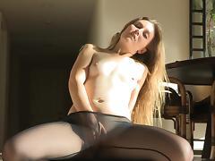 Shaved Pussy, Blonde, Masturbation, Nylon, Pantyhose, Small Tits