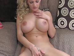 Busty babe Loulou is sucking at the casting