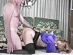 Blonde chick in stockings gets fucked by old fart