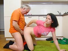 Dark-haired Dasha is banging with that old worker