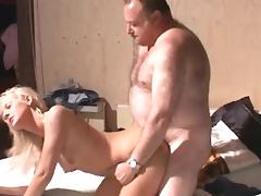 Old and Young, Bedroom, Blowjob, Couple, Riding, Small Tits