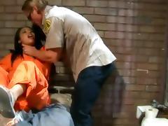 Sexy brunette girls get fucked rough in a prison ward