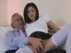 Old and Young, Blowjob, Brunette, Couple, Riding, Small Tits