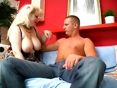 Busty mature blonde Zhanna gets her pierced cunt licked and fucked