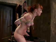 Redhead slave gets bondaged and twitched all over