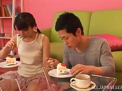 Asian Girl Gets a Sticky Dessert When He Cums in Her Mouth
