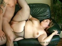 Fat BBW siren is enjoying some sex on the couch