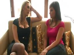 British slut Tanya in a ffm threesome in stockings