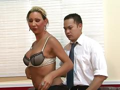 Busty shemale is fucking her boss up his ass