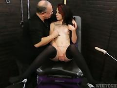 Tattooed Melly Winters gets her pussy fucked by a sex machine