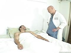 Transsexual nurse gets fucked by a patient and a doctor