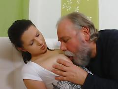 Old and Young, Anal, Blowjob, Fingering, Old Man, Sofa