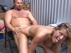 Sexy assy blonde being fucked by fat man