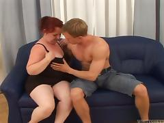 Redhead mature woman rides a dick and gives a handjob