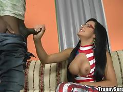 Hot shemale Bruna Butterfly sucks a BBC and gets her butt slammed