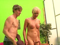 Blonde tranny gets banged and creampied by two guys