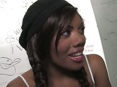 Black Girl in Pigtails Sucks White Dick in a Gloryhole
