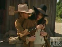 Hot girls of Wild West times have wild lesbian sex
