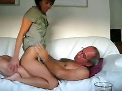 Mature couple anal sex on sofa