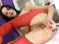 Wet, Brunette, Masturbation, Pantyhose, Pissing, Slut
