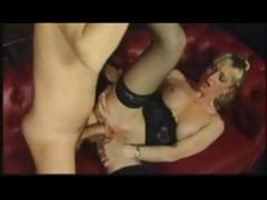German blonde babe eats his rod and then takes a ride on it