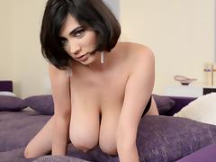 Solo scene with awesome brunette Luna Amor