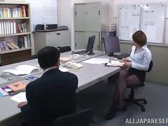 Tamaki Nakaoka lets some man rub his dick against her ass in an office