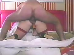 Chubby retro milf gets her cunt drilled from behind in homemade clip porn video