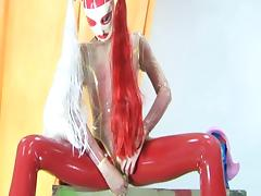 Awesome model in latex Beatrix plays with dildo