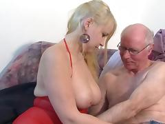 Old man is fucking young blonde Janine porn video