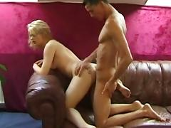 Blonde Nathalie North gives a sloppy blowjob