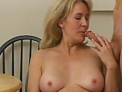 A blonde cougar gets nailed on a chair and a floor