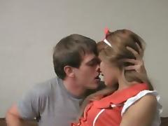 A sweet girl in sexy nurse uniform gets fucked in her teen pussy