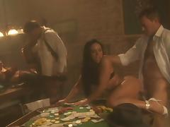 Cherokee and Mia Smiles enjoy foursome banging on a pool table