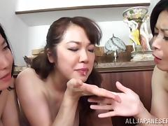 Three Japanese MILFs suck a dick and take cum in their mouths