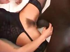 Italian blonde gang fucked in stockings.