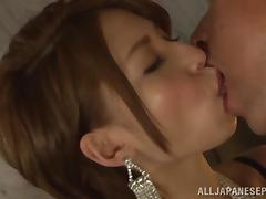Redhead hot Asian MILF gets fresh cum in mouth
