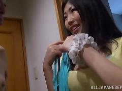 Arousing Japanese AV Model enjoys bath sex with older guy