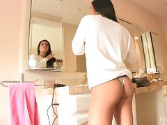 Marletta enjoys kneading her amazing tits in the bathroom