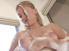 Stunning solo clip of Alison Angel taking a soapy bath