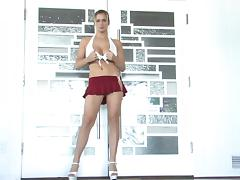 Danielle dances near a pole after masturbating her pussy porn video