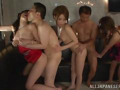 Pretty Japanese Babes Have Group Sex At A Wild Party