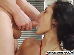 Amateur girlfriend deepthroats a huge cock