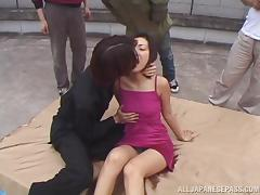 Slim Minami Hirahara gets fucked on a pavement in public