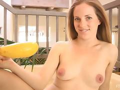 Banana, Banana, Masturbation, Shaved Pussy