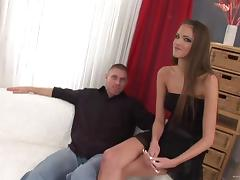Silvie Deluxe gives head and gets her bushy cunt slammed