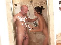 All, Bathroom, Blowjob, Brunette, Jerking, Kissing