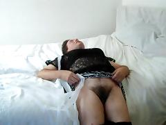 zebra skirt lifted showing you my male hairy pussy