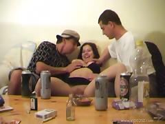 Busty Andrea Ash has threesome sex after a home party