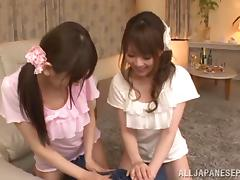 Akiha Yoshizawa and horniyfemale friend amateur Asians in mff
